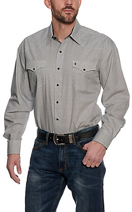 Stetson Men's White Geo Print Long Sleeve Western Shirt