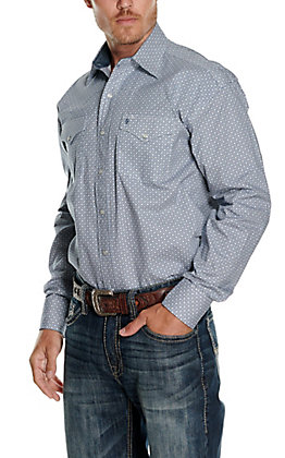 Stetson Men's Blue with White & Red Geo Print Long Sleeve Western Shirt