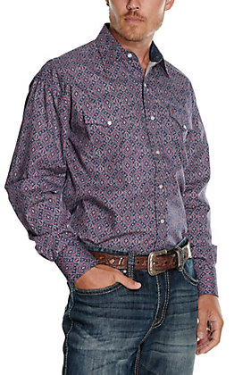 Stetson Men's Blue, Red and White Medallion Print Long Sleeve Western Shirt