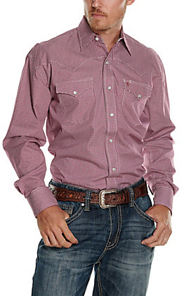 Stetson Men's White with Burgundy Circle Print Long Sleeve Western Shirt