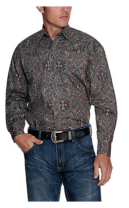Stetson Men's Grey with Brown Paisley Print Long Sleeve Western Shirt