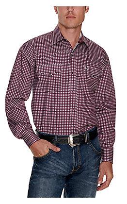 Stetson Men's Wine with White Medallion Print Long Sleeve Western Shirt