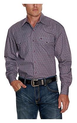 Stetson Men's Blue with Wine Print Long Sleeve Western Shirt
