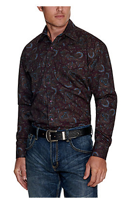 Stetson Men's Wine with Tan and Blue Paisley Print Long Sleeve Western Shirt