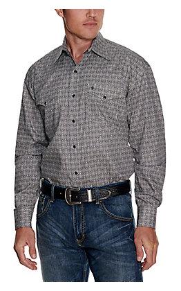 Stetson Men's White with Black Print Long Sleeve Western Shirt