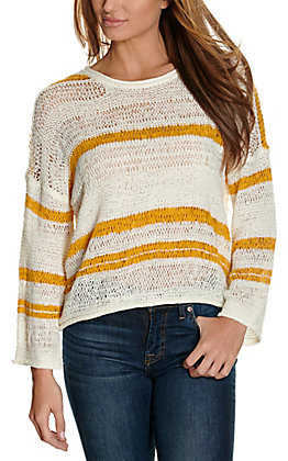 Newbury Kustom Women's White and Mustard Stripes Long Sleeve Fashion Top