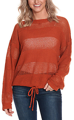 Newbury Kustom Women's Rust Stripes with Tie Long Sleeve Knit Fashion Top