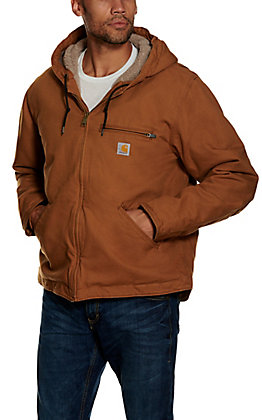 Carhartt Men's Washed Duck Brown Sherpa Lined Jacket