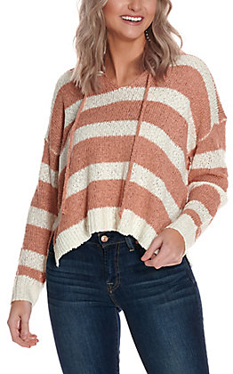 Newbury Kustom Women's Mauve & Ivory Stripe Long Sleeve Light Knit Sweater