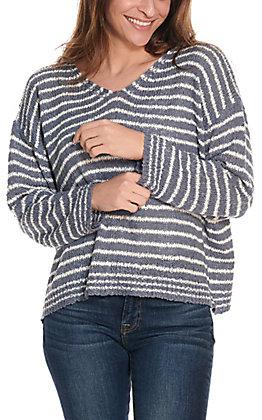 Newbury Kustom Women's Denim Blue and White Stripe V-Neck Knit Fashion Top