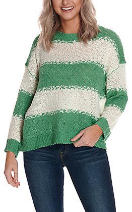 Newbury Kustom Women's Green & White Stripe Long Sleeve Light Knit Sweater