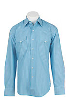 Stetson Men's Blue and White Stripe L/S Western Snap Shirt