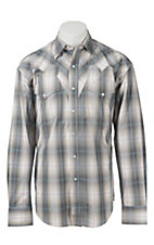 Stetson Men's Grey Plaid Long Sleeve Western Shirt