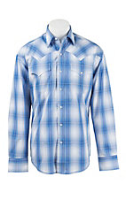 Stetson Men's Blue Plaid Long Sleeve Western Shirt