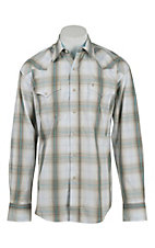 Stetson Taupe and Blue Plaid L/S Western Shirt