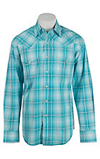 Stetson Men's Blue and White Plaid L/S Western Shirt