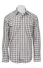 Stetson Men's Grey & Mustard Yellow Plaid Long Sleeve Western Shirt