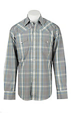 Stetson Men's Grey, Green, and Blue Plaid Long Sleeve Western Shirt