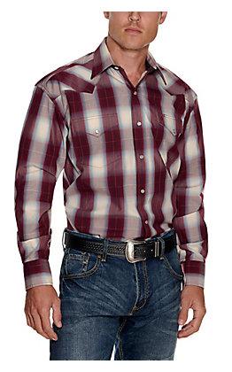 Stetson Men's Wine, Cream and Blue Plaid Long Sleeve Western Shirt