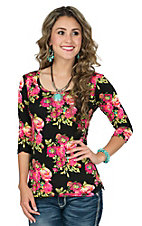 Jody Women's Black Floral 3/4 Sleeve Casual Knit Tee