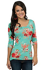 Jody Women's Mint Floral 3/4 Sleeve Casual Knit Tee