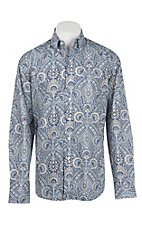 Stetson Men's Blue and Yellow Paisley Print L/S Western Shirt