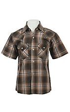 Ely Cattleman Boy's Chocolate Plaid Short Sleeve Western Shirt