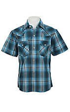 Ely Cattleman Boy's Teal & Light Blue Plaid Short Sleeve Western Shirt