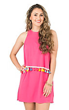 Judith March Fucshia with Multi Colored Tassels Sleeveless Dress