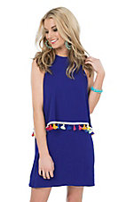 Judith March Blue with Multi Colored Tassels Sleeveless Dress