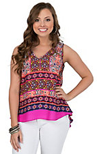 Renee C. Women's Pink Multicolor Printed Sleeveless Top