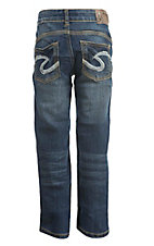 Silver Jeans Girl's Dark Wash Stretch Open Pocket Boot Cut Jeans