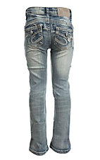 Silver Jeans Girl's Bleach Wash Stretch Open Pocket Boot Cut Jeans