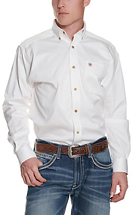 Ariat Men's Solid White Long Sleeve Western Shirt