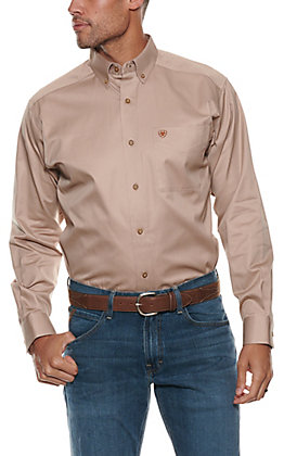 Ariat Men's Solid Tan Long Sleeve Western Shirt