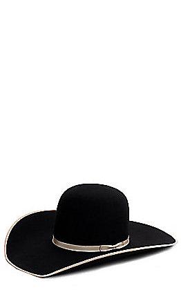 Rodeo King 10X Black Open Crown Felt Hat