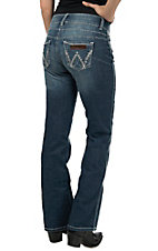 Wrangler Premium Patch Women's Mae Medium Blue Above Hip Rise Boot Cut Jean 10MWZCT