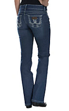 Wrangler Premium Patch Booty Up Women's Mae Medium Wash Above Hip Rise Boot Cut Jean 10MWZWJ