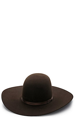 "Rodeo King Chocolate 10X Open Crown 5"" Brim Felt Hat"