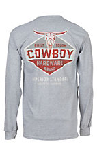 Cowboy Hardware Men's Built Tough Long Sleeve Grey T-Shirt
