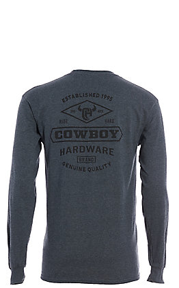 Cowboy Hardware Men's Heather Charcoal Long Sleeve T-Shirt