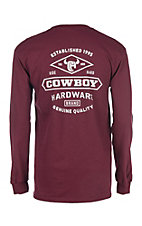 Men's Cowboy Breed Long Sleeve Maroon T-Shirt