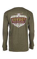 Men's Cowboy Breed Long Sleeve Green T-Shirt
