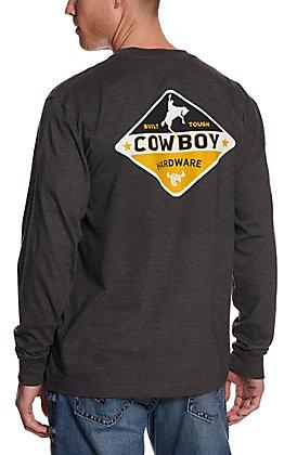 Cowboy Hardware Men's Charcoal Grey Built Tough Long Sleeve Tee