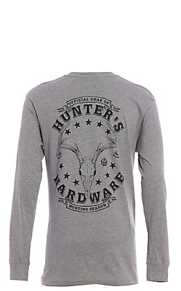 Hunter's Hardware Men's Grey Skull Long Sleeve T-Shirt
