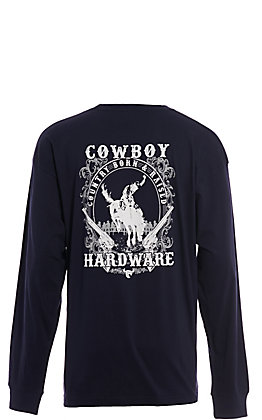 Cowboy Hardware Men's Navy Country Boy & Raised Graphic Long Sleeve T-Shirt