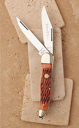 Tree Brand by Boker Traditional Series Brown Bone Folding Hunter Pocket Knife with Case