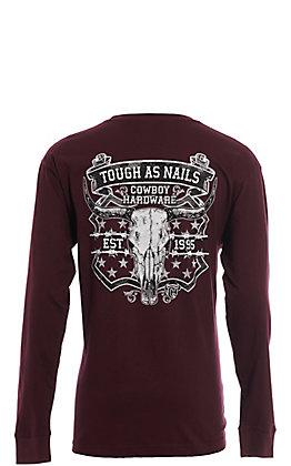 Cowboy Hardware Men's Maroon Tough as Nails Graphic Long Sleeve T-Shirt