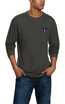 Cowboy Hardware Men's Charcoal with Texas Flag Skull Embroidery Long Sleeve T-Shirt