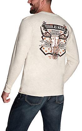 Cowboy Hardware Men's Oatmeal Tough As Nails Long Sleeve T-Shirt